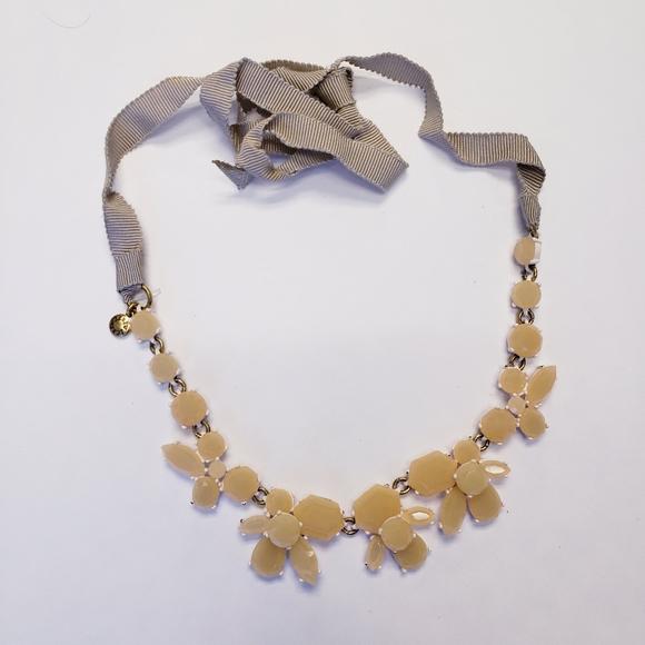 J. Crew Stone Statement Necklace with Ribbon Tie